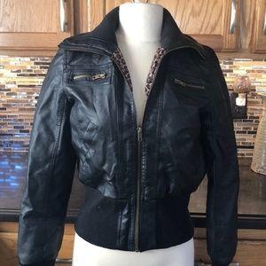 Stylish Faux Leather Zip Up Jacket